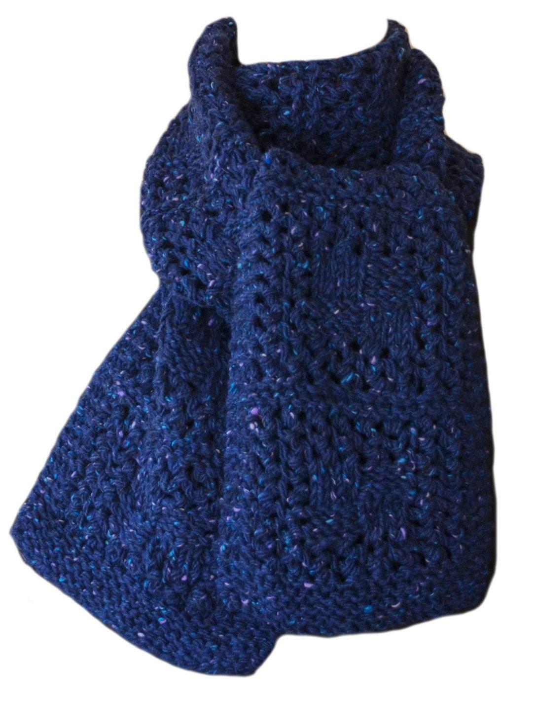 Hand Knit Scarf Blue Tweed Checkerboard Wool