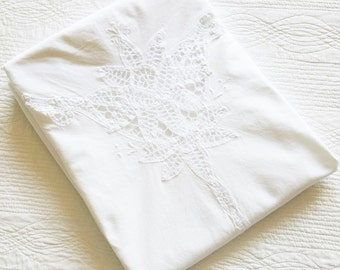 Vintage Romantic Home Snow White Floral Cutaway Lace Table Linen, Olives and Doves
