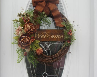 Every Day Wreath - Fall wreath - Autumn Wreath - Welcome Wreath - Rustic Wreath  - Peony Wreath- Summer Wreath - Country Welcome Wreath