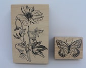 Pair of Magenta brand rubber stamps of 1) Butterfly and 2) Large flower & stem