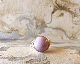 Sterling Silver Wire Wrapped Ring with Charoite | Gemstone Rings | Statement Rings | Wire Wrap Rings | Womens Rings | Boho Rings |