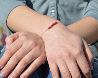 Ruby Bracelet, Danity Stacking Bracelet, 14k Gold Fill, Sterling Silver, Rose Gold, Red Bracelet, Ruby, Bar Bracelet, Gold Ruby Bracelet