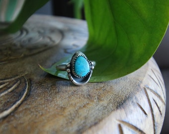 Turquoise Ring, Turquoise Sterling Silver Ring Turquoise Elegant Siver Ring cool design ring deep blue stone handmade one of a kind ring