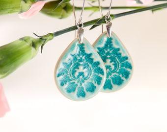 Big turquoise earrings turquoise dangle earrings Ceramic earrings Ceramic jewelry handmade Sterling silver turqoise earrings boho blue