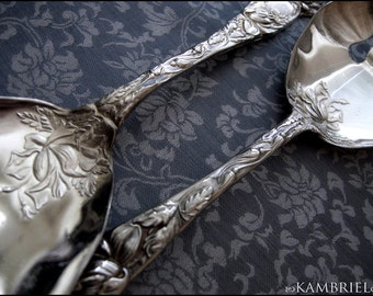 Vintage Art Nouveau Estate Silver Plated Serving Set - W.A. Bridal Rose Design -  Mid Century Shabby Chic  - Made In Italy