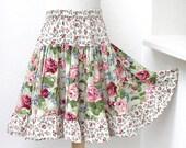 Girls Skirt Floral Rose Girl Ruffle Skirt Moss Green Boutique Girl Clothes Kid Gift Girl Twirl Skirt Boho Child Clothing Sizes 2T - Tween 14