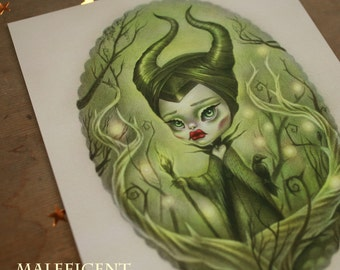 Maleficent - Limited Edition 2/100 - 8x10 Fine Art Print - signed, numbered, dated - lowbrow popsurreal art by KarolinFelix - unframed