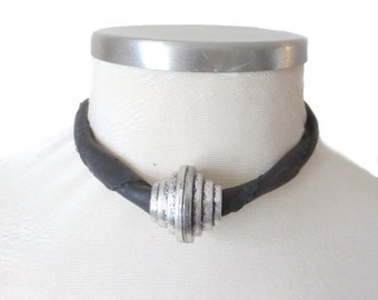 Leather Necklace, Black Necklace, Women's Leather Choker Necklace, Black Choker, Leather Jewelry