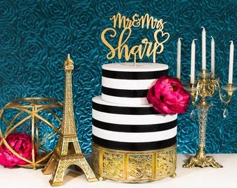 Gold Cake Topper | Custom Wedding Cake Topper | Cake Top | Gold and Silver | Handmade in America | Metallic | Glitter