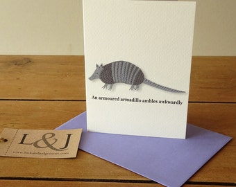 Armadillo card - cute animal card - nature lover gift - nature note card - silly animal cards - animal note cards - paper goods - armadillos