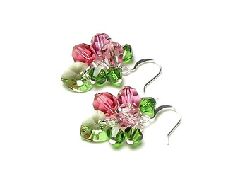 Spring Garden Swarovski Crystal Silver Cluster Earrings, Pink & Green Apple Blossom Jewelry, Pastel Rose, Romantic Gifts For Her, Clip On