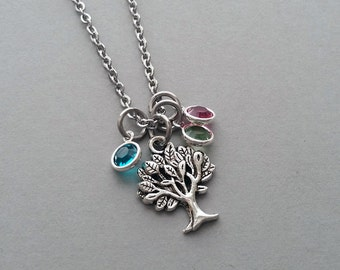 Family Tree Charm Necklace, Family Tree Necklace, Family Tree Jewelry, Tree Of Life, Stainless Steel Chain, Swarovski Birthstone Crystal
