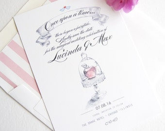 Snow White Fairytale Wedding, Disney Inspired, Wedding Watercolor Save the Date Cards (set of 25 cards)