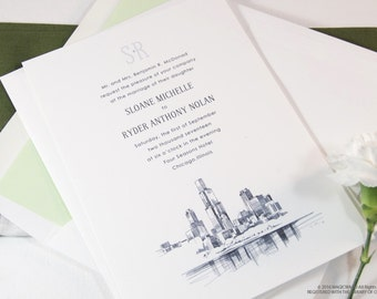 Chicago Skyline Wedding Invitations Package (Sold in Sets of 10 Invitations, RSVP Cards + Envelopes)