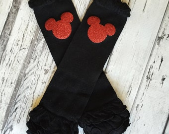 Leg Warmers, Baby Legwarmers, Toddler Legwarmers, Black and Red Minnie Legwarmers, Black Baby Leg Warmers, Birthday outfit, Photo Prop