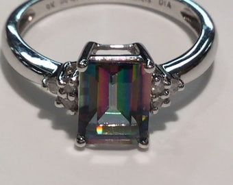 9k White Gold Mystic Topaz And Diamond Ring