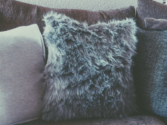 Faux Grey fur throw pillow cozy decor