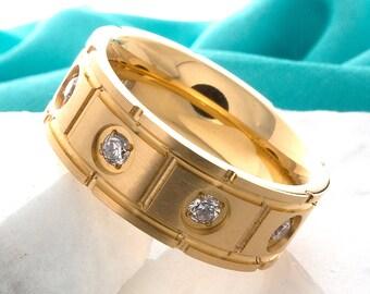Titanium Wedding Band Gold Plated Titanium CZ Ring 8mm Anniversary Ring Titanium Promise Ring Mens Womens Titanium Band FREE Laser Engraving