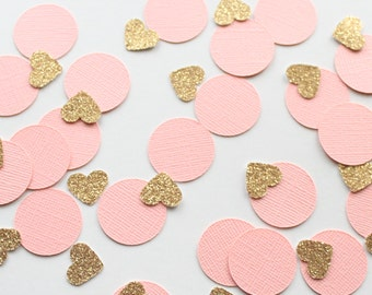 "Peach & Gold 1"" Circle and Heart Confetti/ 100 Count/Party Decoration/ Birthday/ Wedding/ Bridal Shower/ Baby Shower/ Table Confetti"