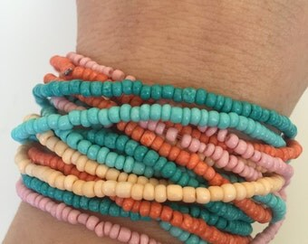 Beaded Bracelet 295- friendship spring beads bracelet gift adjustable turquoise blue pink orange trendy  womenswear