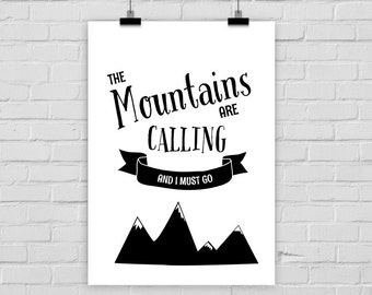 fine-art print poster MOUNTAINS ARE CALLING