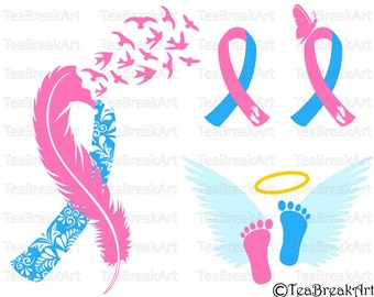 Pregnancy loss Ribbon Awareness zentangle feather bird flying Cutting Files SVG PNG EPS dxf ClipArt iron on heat transfer shirt decal 681C