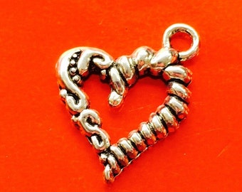 2 Silver Twined Heart Charms, Orndants