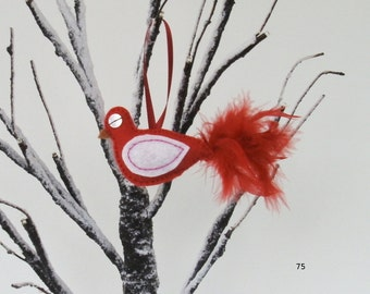 Christmas decoration, Felt bird ornament, hanging decoration, Xmas tree decoration, Bird decoration with red tail feathers.