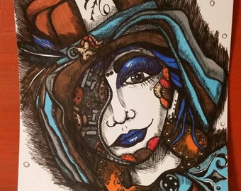 Steampunk Mad Hatter Drawing