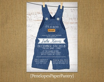 Rustic Baby Boy Shower Invitations,Blue Denim Overalls,Clothes Pins,Buttons,Lil Wrangler,White Wood,Unique,Customizable With White Envelopes