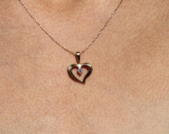 14K Yellow Gold Heart Necklace with Diamond Accent