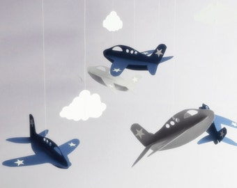 Airplane Mobile - Handmade Airplane and Cloud Nursery Mobile , Navy and Grey Airplanes , Boys Hanging Mobile , Choose Your Colors
