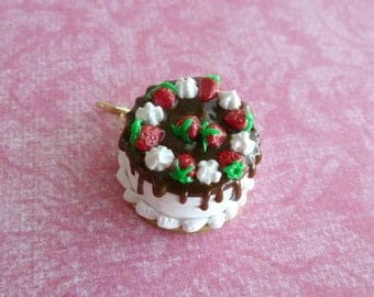 Birthday Gift Gifts for Her Vanilla Strawberry Cake Miniature Food Jewelry Polymer Clay Pendant