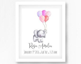 Birth Announcement Wall Art, Baby Girl Nursery, Elephant Nursery Art, Baby Name Print, Personalised Nursery Wall Art, New Baby Girl Gift