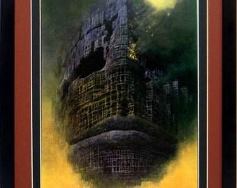 Framed Beksinski Art Poster Burning Face
