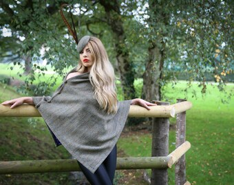 100% Royal British Harris Tweed Winter Cape/Poncho/Shawl with Silk Lining - variety of colours available
