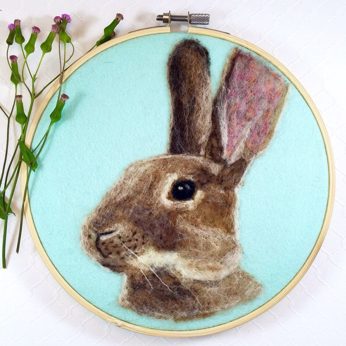 Bunny nursery decor easter decorations rabbit art needle for What kind of paint to use on kitchen cabinets for embroidery hoop wall art