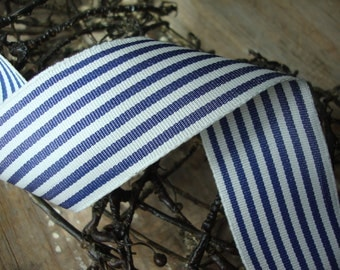 Navy Blue and Ivory Narrow Awning Stripe Wired Ribbon