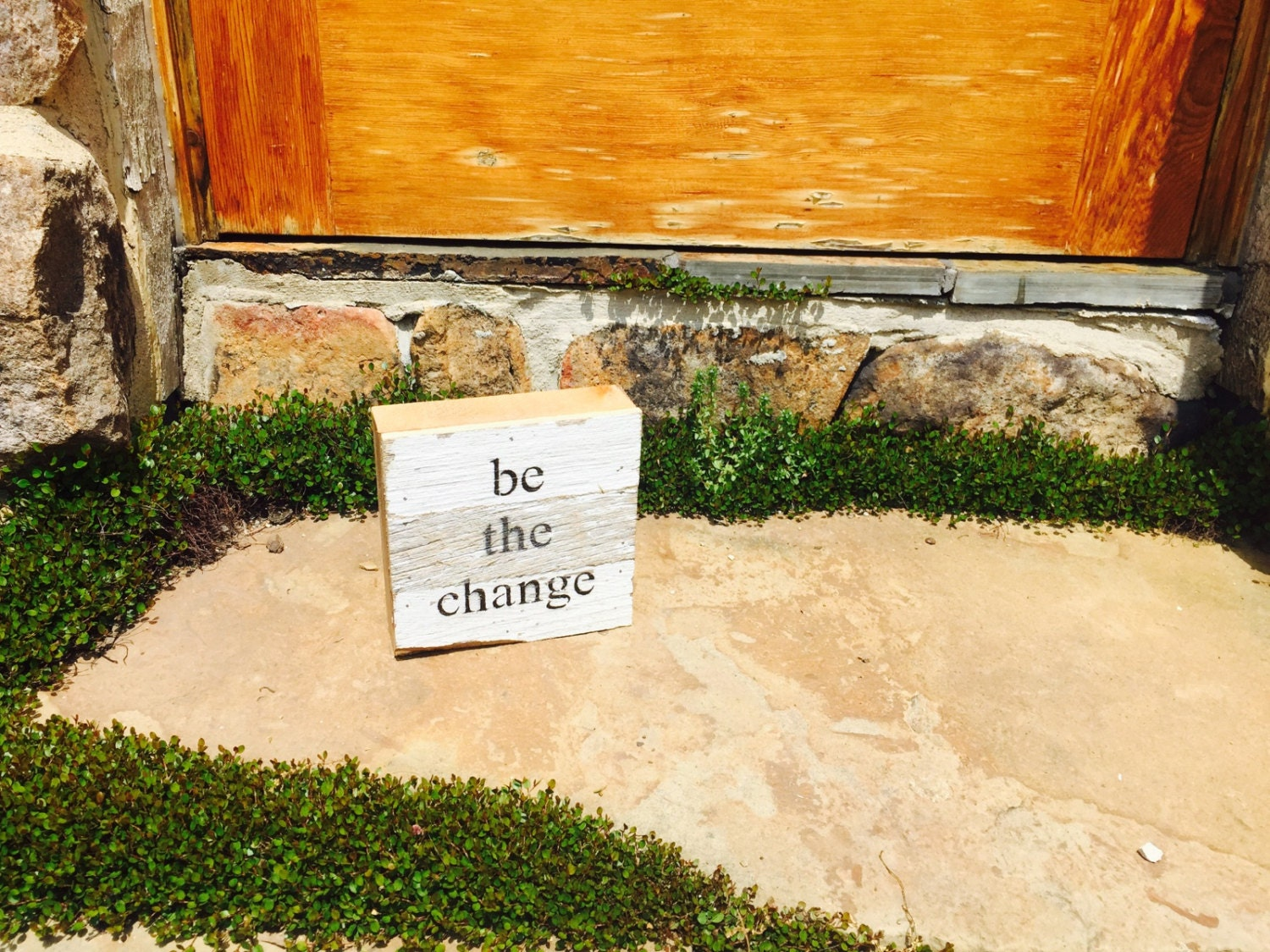 Wooden signs with quotes Be the Change reclaimed upcycled wood ...