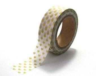 Gold Hearts Washi Tape Golden Heart Love 10m x 15mm