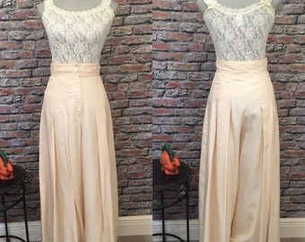 Vintage 1980's Palazzo Pants  Cream Silk  Wide Leg  High Waist Size 6