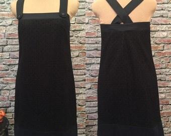 Vintage Black Cotton Eyelet Sheath Sun Dress  Size Medium