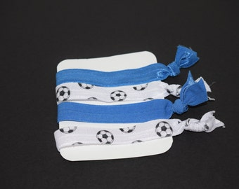 Soccer Elastic Hair Ties- Set of 4 Hair Ties- Soccer FOE- Soccer Elastic- Soccer- Soccer Hair Ties