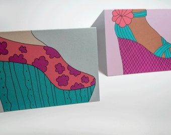 Illustrated Shoe Greeting Cards, set of 5