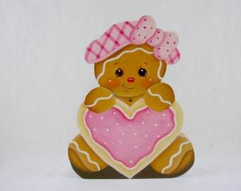 Ginger with Heart Cookie, Item #WPH66, Gingerbread Fridge Magnet and/or Shelf Sitter, ByBrendasHand,  Gingerbread Decor, Sweet Heart
