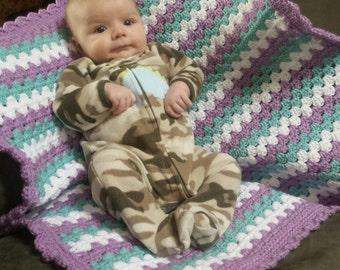 Baby Girl Granny Stripe Blanket