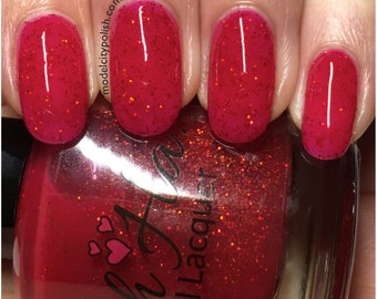 Red Sunset Holographic Glitter Polish
