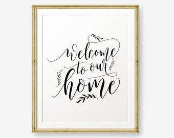 Welcome to our home, house warming gift, welcome sign, wedding gift, home print, inspirational quote,
