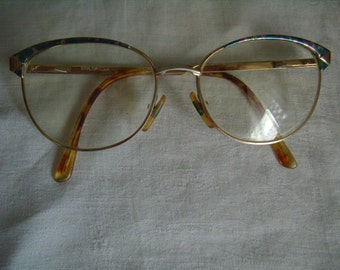 Old round glasses, gold metal, Made in France, Styloptic, Vintage 1980,