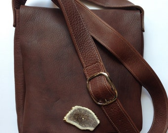 Brown leather messenger bag, leather cross body bag, brown leather cross body bag, iPad bag, elk antler button